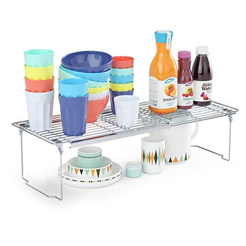 Organizzatore per scaffali, organizer per mensole espandibile, regolabile da 42,4 a 63 cm di lunghezza ispessita per dispensa, armadietti e ripostiglio per cucina, credenza, bagno e bancone