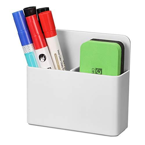 CaseBot Magnetic Dry Erase Marker Holder, Pen and Eraser Holder for Whiteboard, Magnet Pencil Cup Storage Organizer for School, Office, Home, Fridge, Locker and Metal Cabinets, White