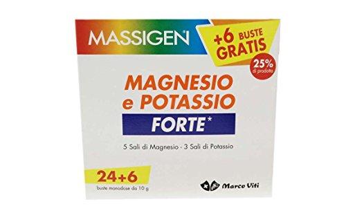 Massigen, Magnesio e Potassio Forte, Integratore 24+6 Bustine