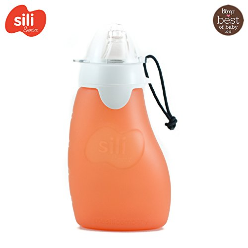 Quetsch-Beutel bef/üllbar Smoothies und P/ürees - Kinderflasche aus Silikon Apple Schadstofffrei f/ür S/äfte Rot Offene T/ülle Sili Squeeze 180ml