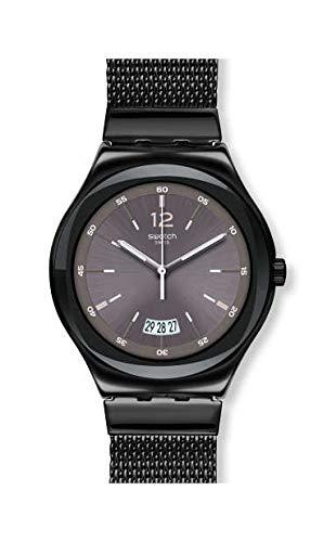 Swatch Herren Analog Quarz Uhr mit Edelstahl Armband YWB405MA