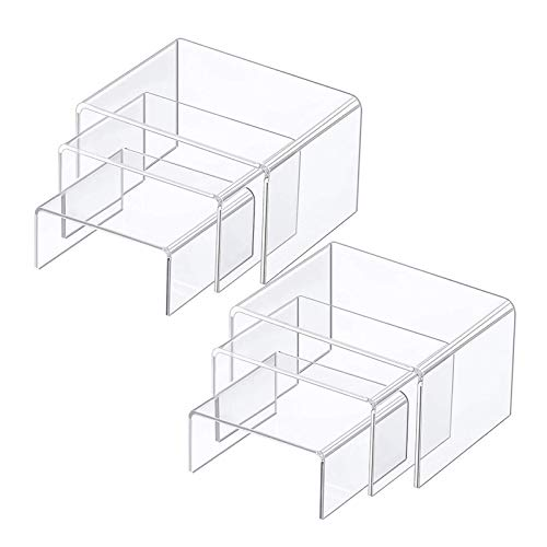 2 Sets Acrylic Display Risers Jewelry Display Riser Shelf Showcase Fixtures Clear Display Stands for Cupcake Stands Candy Dessert Table Decorations