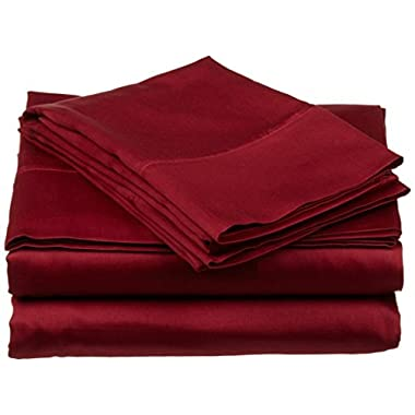 #1 Bed Sheet Set - HIGHEST QUALITY 100% Egyptian Cotton 800 Thread-Count Queen Size Wrinkle, Fade, Stain Resistant - 4 Piece 16  Drop -By Rajlinen  (Burgundy Solid, Queen)