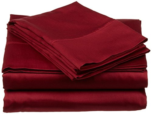 """aashirainwear RV Bunk Size Sheet Set 4 Piece Set_Hotel Luxury Bed Sheets - Extra Soft 15"""" deep Pockets_Easy fit Breathable Bedding Sheets_Wrinkle Free Comfy_Burgundy Solid Bed Sheets_RV Bunk Sheets"""