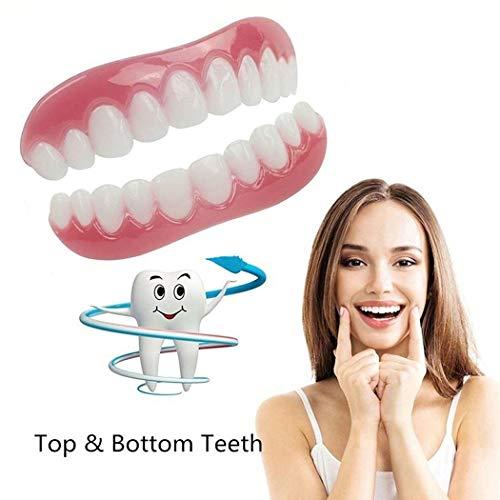 Smile Veneers Dientes cosméticos para maxilar y prótesis de prótesis dentales temporales Dientes Naturales pequeños y cómodos de reparación rápida (para Arriba y Abajo)
