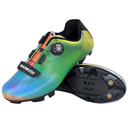 JINFAN Zapatillas De Ciclismo MTB para Hombre Zapatillas De Ciclismo De Montaña con Candados,Calzado Deportivo De Invierno/Suela-Nailon,7.5UK=42EU=8.5US
