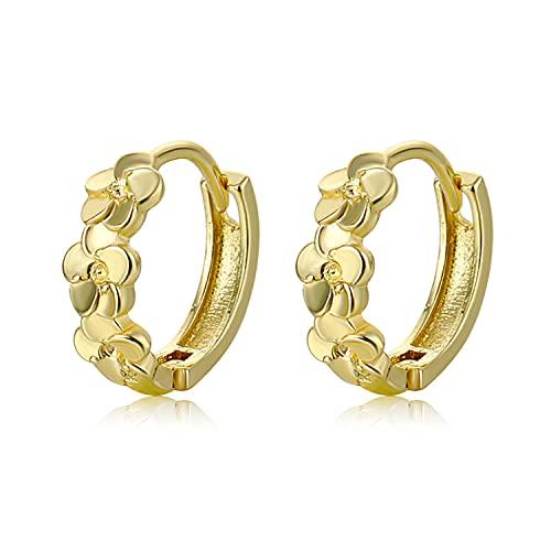 Pendientes de aro chapados en oro para mujeres y niñas