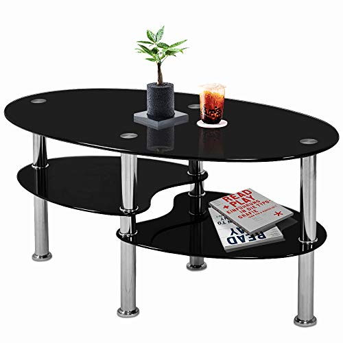 """Nidouillet 3 Tier Tempered Glass Table with Glass Shelves and Stainless Steel Legs, Oval-Shaped Coffee Table Living Room Home Furniture 35.4""""x19.7""""x17.7(LxWxH)- Black AB026"""