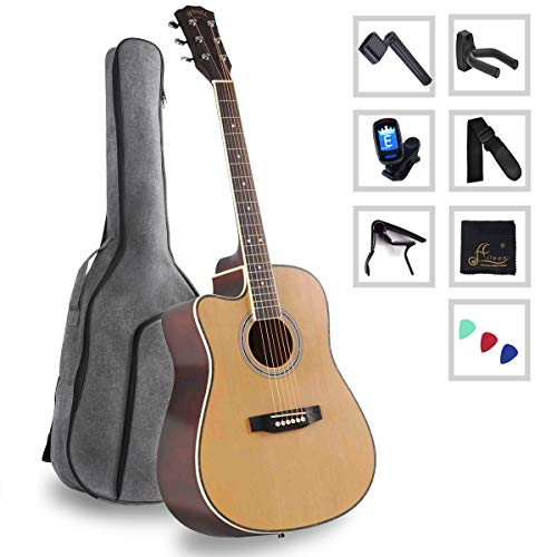 Acoustic Guitar Full Size Spruce Cutaway for Beginners Students Kids with Advanced Kit, 41 Inches, Left Handed