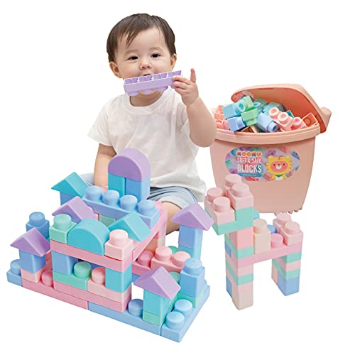 MOOMU Soft Building Blocks Set for Toddlers, Baby Ages 6 Month Old and up, STEM Montessori Preschool Learning Stacking Block Kit, Educational Safe Playing Toys, Girl Boy Kids, 120 Pieces Pink Sets