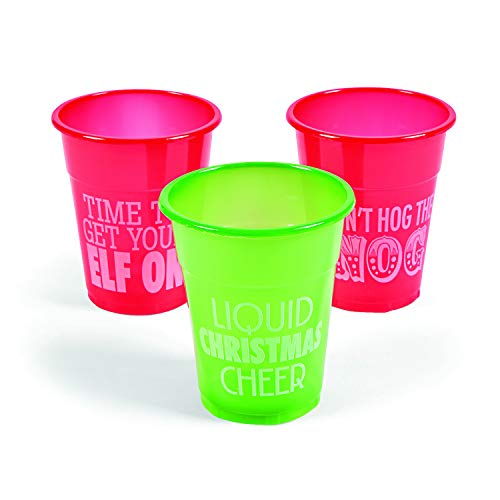 50pc Christmas Plastic Drinking Cups 12oz