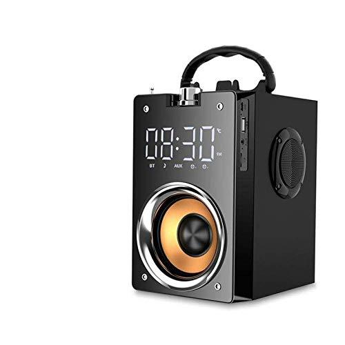 GaoF Altavoz Supergraves Subwoofer Reloj Altavoz Altavoz Micrófono Caja Bluetooth Columna Auxiliar Altavoz Radio para Tarjeta de