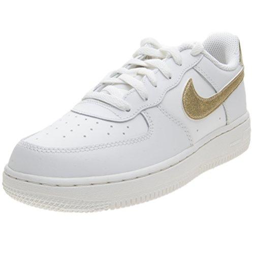 Nike Jungen Mädchen Force 1 (Ps) Basketballschuhe, weißo Summit Weiß MTLC Gold Star Summit Weiß 127, 33.5 EU