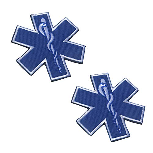 2-Pack Reflective 2-3/4 inches Star of Life Morale Patch Hook Backing EMT EMS Paramedic Emergency Medical
