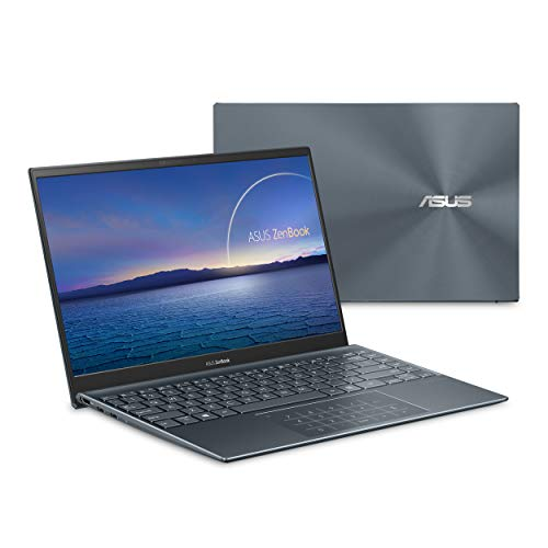 "ASUS ZenBook 14 Ultra-Slim Laptop 14"" Full HD NanoEdge Bezel, Intel Core i7-1065G7, 8GB RAM, 512GB PCIe SSD, NumberPad, Thunderbolt 3, Windows 10 Home, Pine Grey, UX425JA-EB71"