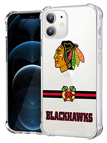 Clear Phone Case Compatible with iPhone 12, iPhone 12 Pro 6.1 Inch, Crystal Shock Bumper Soft TPU & Hard PC Back Cover (Crossbar Series-Blackhawks)