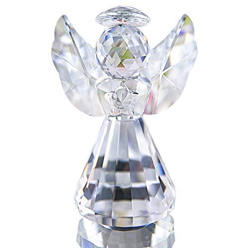 HDCRYSTALGIFTS Kristallengel, Weihnachtsdekoration, Glasornamente, Kunst, Sammlerstück, Geschenke (transparent)