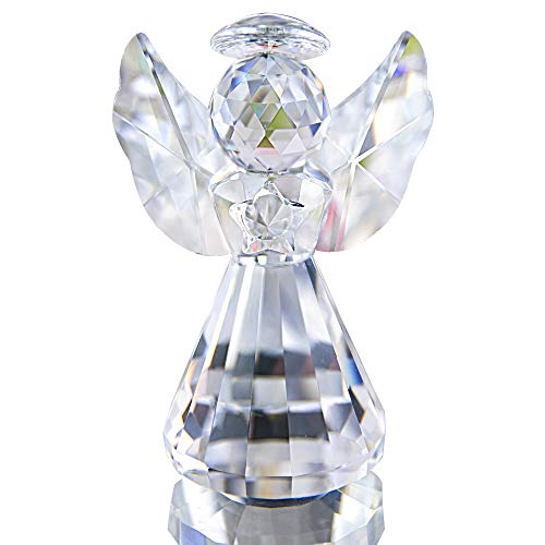 HDCRYSTALGIFTS Figura de ángel de cristal para decoración de Navidad, adornos de cristal, regalos coleccionables (transparente)