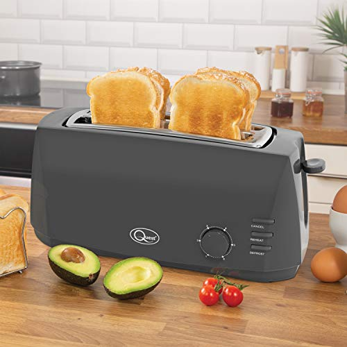 Quest 35089 Extra Wide 4 Slice Long Slot Toaster | Variable Browning Control | Reheat and Defrost | Anti-Jam Function | Crumb Tray and Cord Storage Grey