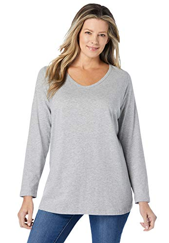 Woman Within Women's Plus Size Perfect Long-Sleeve V-Neck Tee Shirt - 4X, Heather Grey