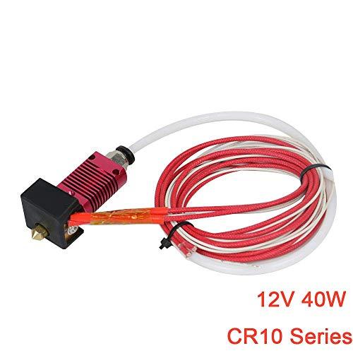 Redrex Extrusora Hot End para Creality CR-10, CR-10S, CR-10S4, CR-10S5 Impresora 3D 1.75mm Filamento 0.4mm Boquilla 12V 40W Calefacción NTC Termistor