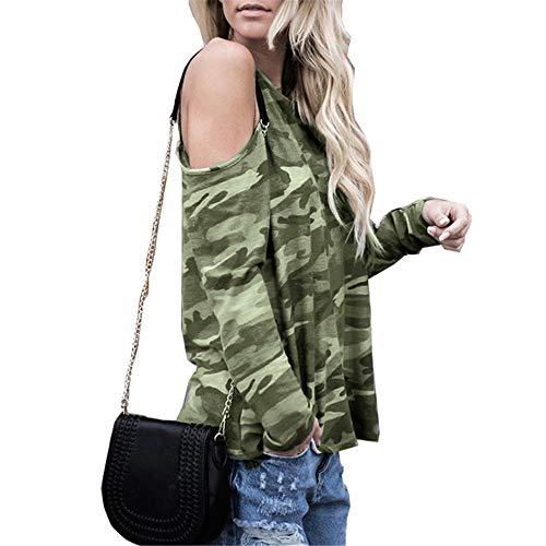 Damen T-Shirt Damen Langarm T-Shirt Casual Fashion Sexy Trägerloses Multicolor Casual T-Shirt Neues 2020 Loses Sommer Dünnes Rundhalsoberteil G-Army Green S