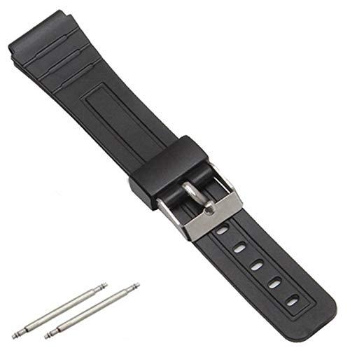 Correa Reloj 16 mm 18 mm 20 mm Bandas de Goma de Silicona para Relojes de Pulsera Reemplace la muñeca electrónica Reloj de la Banda de la Banda Correas de Deportes 1 (Band Color : Black)