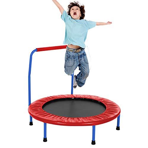 Eloklem trampolino, mini trampolino pieghevole salto fitness per bambini e adulti, tappeto elastico interno/esterno, peso massimo: 75 kg fino a 135 kg, Rosso rosato, Ø 92cm