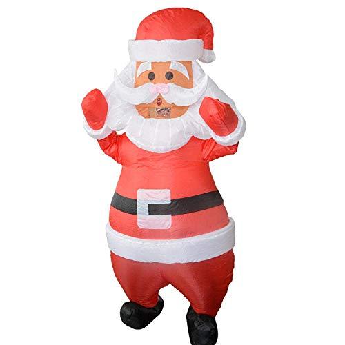 AKAMAS Navidad Santa Claus Inflable Traje del Partido de la Mascarada de Carnaval Rendimiento Vacaciones Traje Traje de los apoyos de Navidad 150-190cm-blanco Baibao (Color : White)