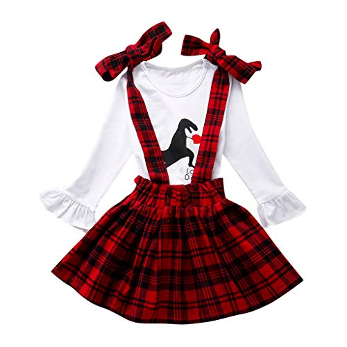 Moneycom❤Toddler Kids Baby Girls Valentines Dinosaur Tops + Plaid Strap Skirt Outfits Set Rouge(6-12 Mois)
