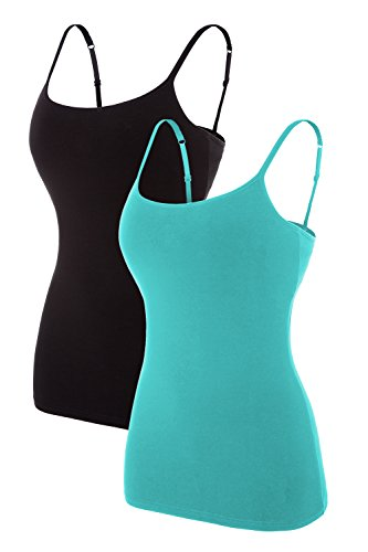 ATTRACO Slim fit Camis for Womens Shelf Bra Tank Shirt 2 Packs Black Aqua Large