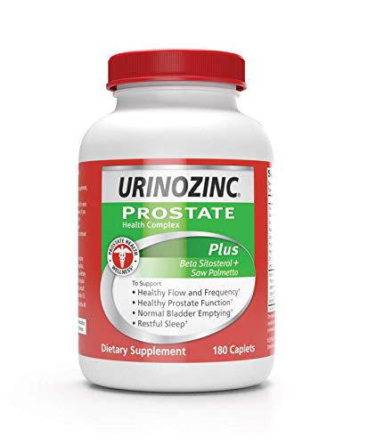 Urinozinc Prostate Plus, Saw Palmetto & Beta Sistosterol Supplement for Men, Reduce Frequent Urination (3 Month Supply, 180 Count)