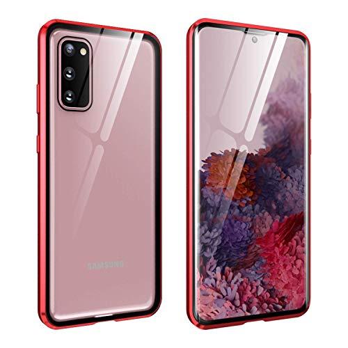 FHZXHY Funda para Galaxy A72 5G con cierre de seguridad transparente de doble cara HD 9H vidrio templado marco magnético metal carcasa protectora para Samsung Galaxy a72 5g 6.7 pulgadas 2021-rojo