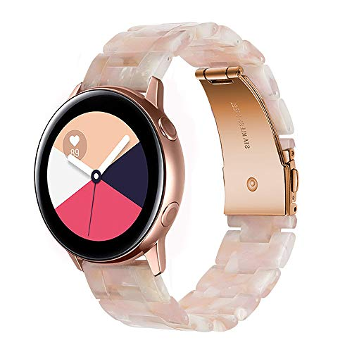 Wongeto Band Compatible with Galaxy Watch 42mm/Galaxy Watch 3 41mm Band Gold Women /Galaxy Watch Active2 40mm 44mm/Gear S2 Classic/Ticwatch 2, 20mm Luxury Resin Replacement Bracelet Strap (Pink 20mm)