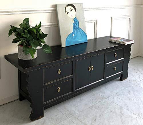 Lowboard asiatisch Sideboard chinesisch TV-Kommode orientalisch schwarz im Antik-Stil für Wohnzimmer