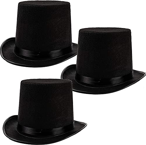 Sombrero de Copa de Colore Negro, Gorro de Fieltro Satn, Chistera Mago Hombre con Cinta de Raso para Disfraces Cosplay Carnaval Halloween (Negro*3, Talla nica)