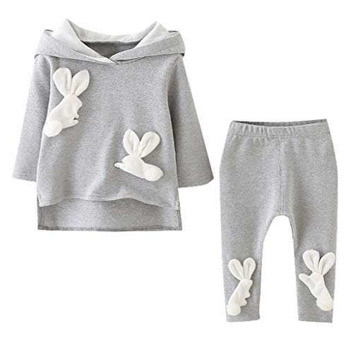 SUCES SUCES Mädchen Set Baby Hoodie + Hosen Anzug Süß Kinder Pullover Sporthosen Bequem Langen Ärmel Pyjamas Mode Lässig Sweatshirt (Grau,70/6)