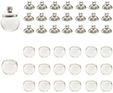 22Pcs Mini Empty Glass Globe Beads 10mm Wish Ball Bottles with 20Pcs Platinum Brass Bails Caps product image