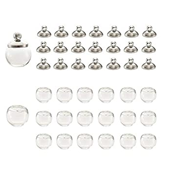 Fashewelry 20Pcs Empty Blown Glass Hollow Ball Beads 16mm Clear Dome Glass Globe Wish Bottles for Earring Jewelry Making 10mm Cap Included  Platinum
