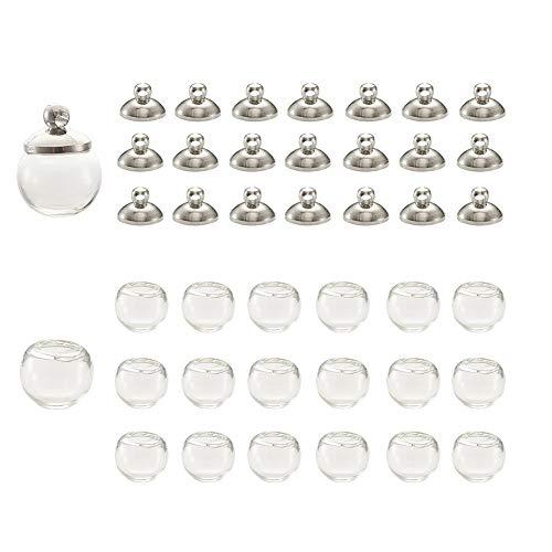 PandaHall 40 mini botellas de cristal de 18 mm bola de cristal con tapa de latón de platino para pendientes, collares y bisutería.
