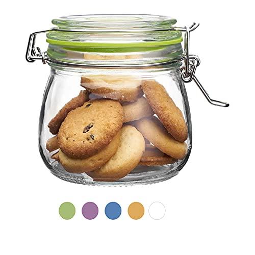 Frascos de vidrio con tapas de clip de 500 ml, frascos de vidrio, recipientes herméticos para almacenamiento de alimentos para mermeladas caseras, galletas, pasta, dulces, especias, verde