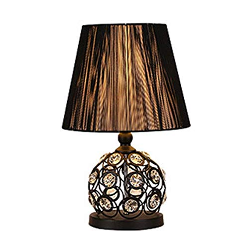 HtapsG Lámpara Escritorio Lámpara de Mesa Simple Moderna lámpara de Noche de Dormitorio en casa lámpara de Mesa de Seda Negra de Cristal clásica de Moda 30 * 52 cm