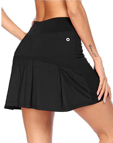 COOrun Skort Damen Tennisbekleidung Radrock mit Innenhose Tasche Sommer Golfrock Schwarz,L