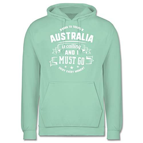Länder - Australia is Calling and I Must go Weiß - S - Mint - Statement - JH001 - Herren Hoodie und Kapuzenpullover für Männer