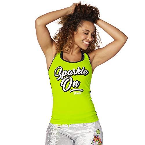 Zumba Dance Fitness Atmungsaktive Tank Workout Racerback Sportkleidung Damen, Green Sparkle, XXL