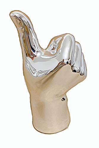 TrendHome Deko Skulptur Deko Figuren Für Wohnzimmer Silber Poliert Hand Kunstobjekt Okay Symbol Daumen Moderne Fensterbank Regal Dekoration Statue