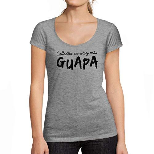 Ultrabasic - Camiseta para Las Mujeres Calladita No Estoy Mas Guapa Impreso Gràfico Gris Moteado