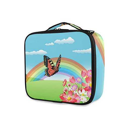 LUPINZ Trousse à maquillage Motif floral arc-en-ciel et papillon