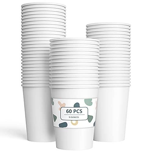 60 Piezas Vasos de Papel Blanco Tazas de Fiesta Desechables Vasos Carton de Biodegradables y Compostables para Fiestas, Suministros de Cumpleaños, Bricolaje,Café - 250ml
