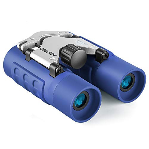 Obuby Real Binoculars for Kids Gifts for 3-12 Years Boys Girls 8x21 High-Resolution Optics Mini Compact Binocular Toys Shockproof Folding Small Telescope for Bird Watching,Travel, Camping, Blue